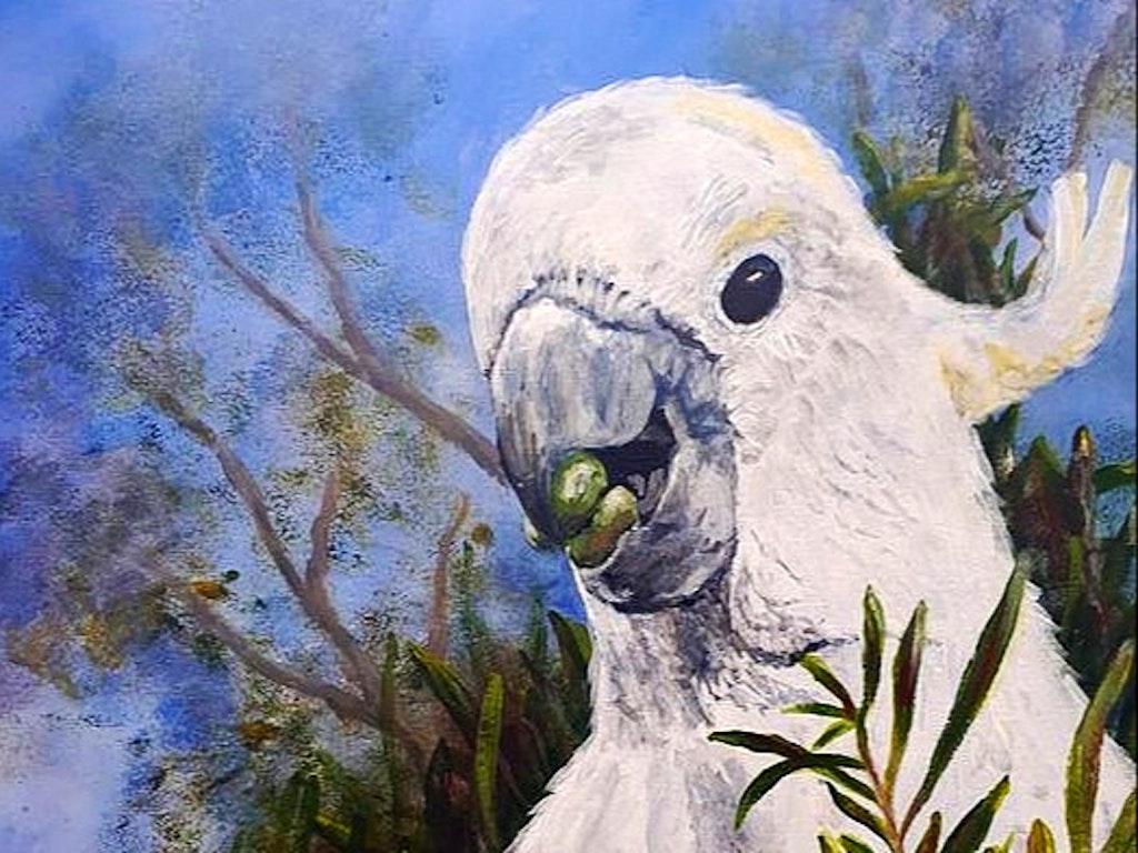 cockatoo acrylic painting
