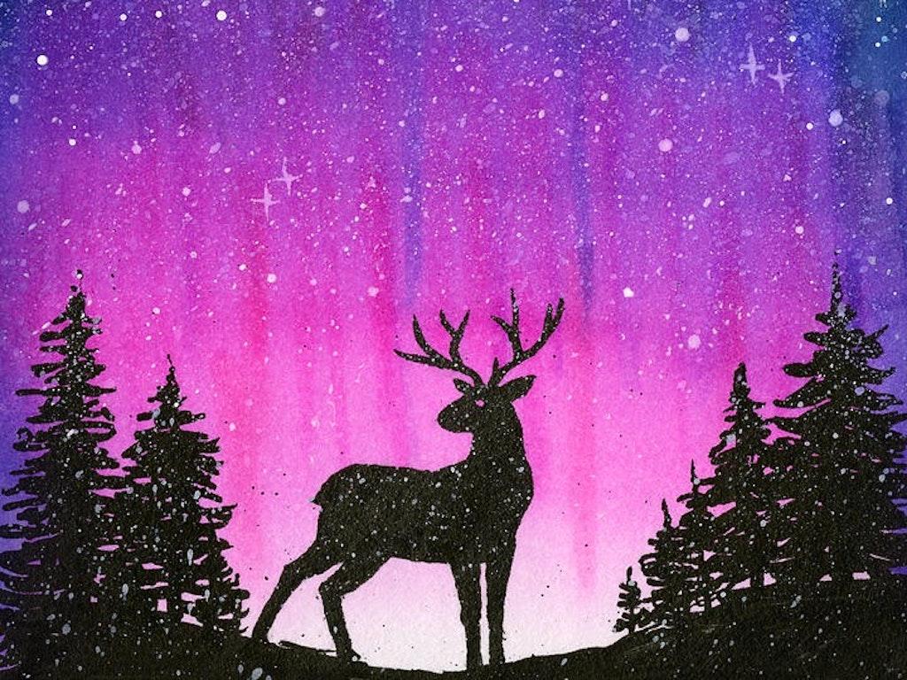 winter-forest-galaxy-reindeer-olga-shvartsur
