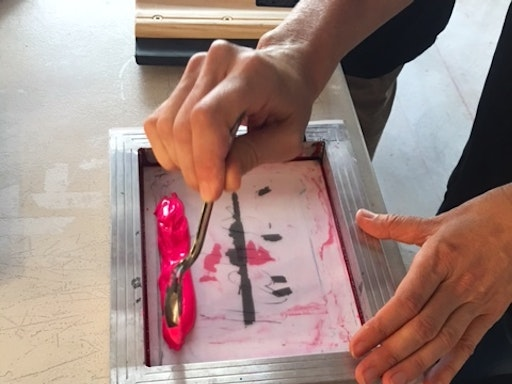 At The Rizzeria, Kitty Caldwell teaches Screen printing, Letterpress, Kids printing and Rubber stamp making.